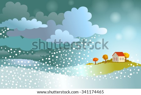 The winter comes - landscape with approaching a snowstorm on a small house. - stock vector