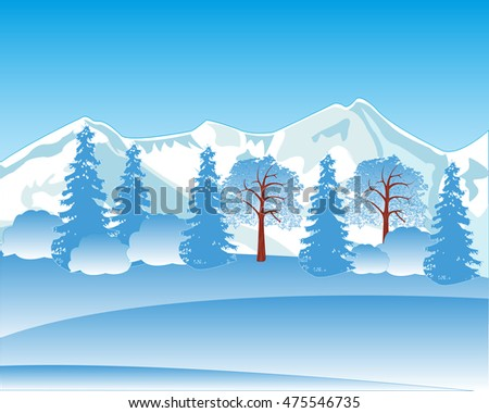 The Winter landscape with mountain and wood.Vector illustration