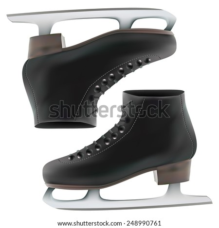 the winter skates. Isolated On White Background. Vector Illustration. - stock vector