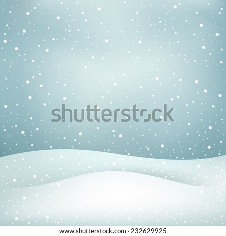 The winter snowfall, blue daytime sky and snowdrift Christmas background - stock vector