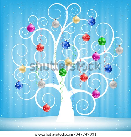 The winter swirl tree with Christmas multicolored balls on the blue mesh background - stock vector