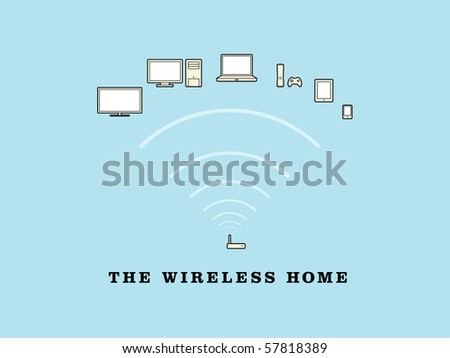 The Wireless Home - stock vector