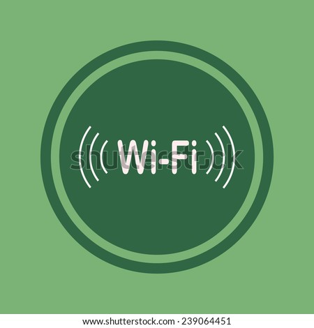 The wireless Wi-Fi network on green background, vector, 10 EPS - stock vector
