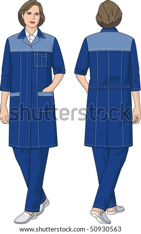 Woman Dressing Gown Short Sleeves Pockets Stock Vector 50930563 ...