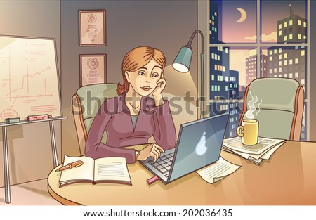 The woman is working hard on the computer in the office at night. Maybe she is preparing a presentation. - stock vector