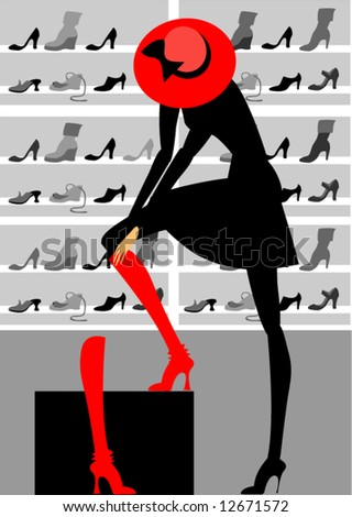 The woman putting on boots - stock vector