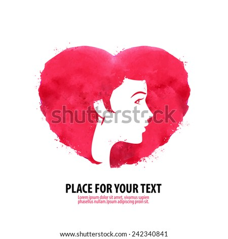 The woman's face and the heart. Girl silhouette, beauty, cosmetics, health, spa, fashion themes. Creative icon. - stock vector