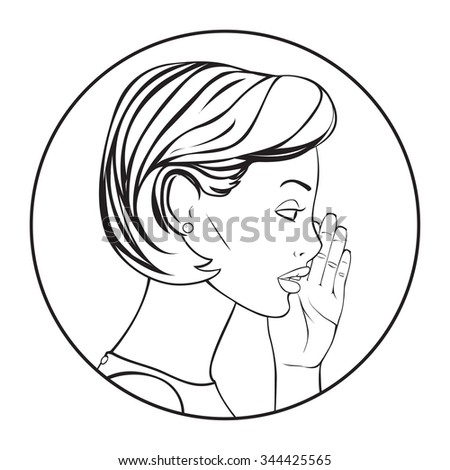 The Woman whispering a secret. Vector Illustration. - stock vector