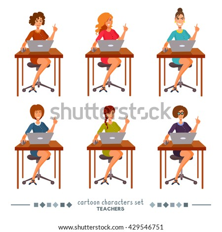 The women sit at a table and shows a hand gesture, point a finger up. Teachers, office managers, businesswomen show a hand, use a notebook. Vector isolated set of flat cartoon characters.