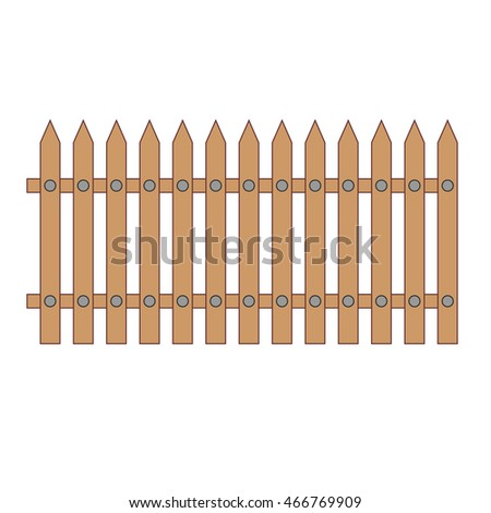 The wooden fence. Vector image.