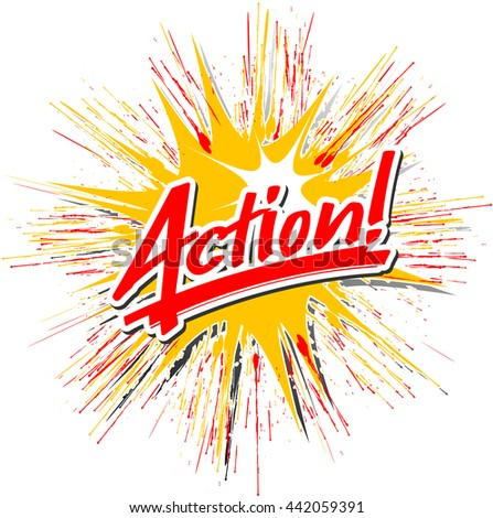 """The word """"action"""" handwritten on an exploding star - stock vector"""