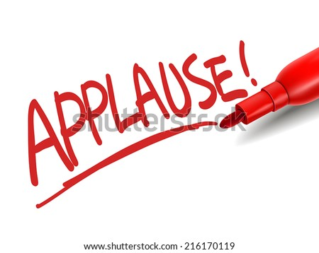 the word applause with a red marker over white - stock vector