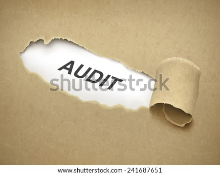 the word audit behind brown torn paper - stock vector