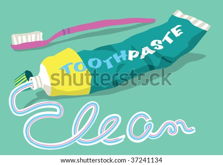 The word CLEAN written in toothpaste from a tube and toothbrush - stock vector