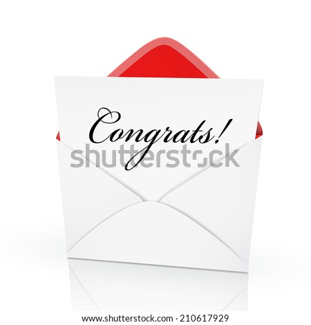 the word congrats on a card in an envelope - stock vector