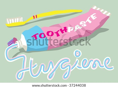 The word HYGIENE written in toothpaste from a tube and toothbrush - stock vector
