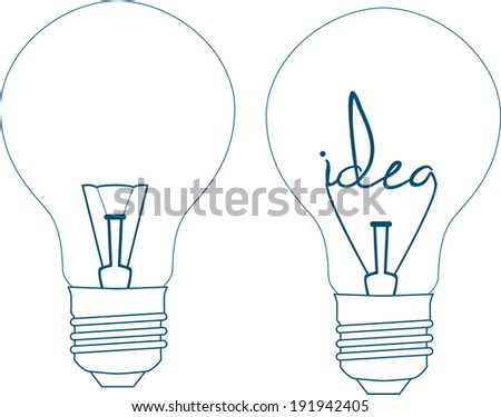 the word idea in a lightbulb on a white background, hand lettering - stock vector