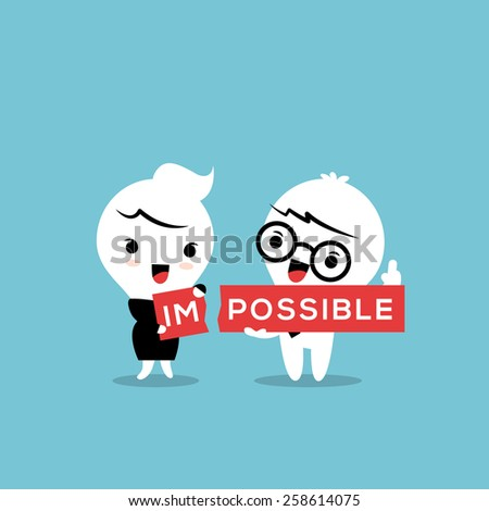 The word impossible torn in two parts im and possible conceptual illustration - stock vector