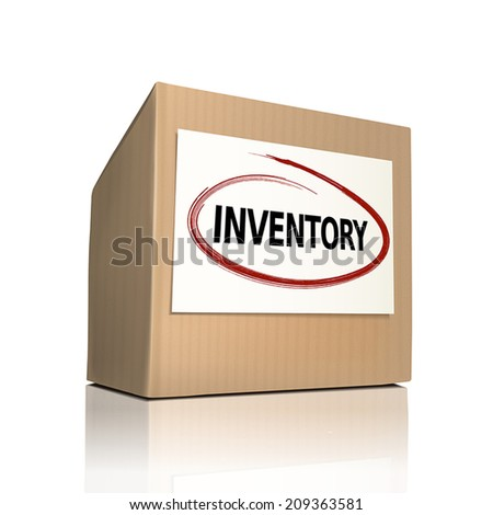 the word inventory on a paper box over white background - stock vector