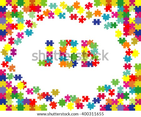 """The word """"JOB"""" laid out the pieces of the puzzle. - stock vector"""