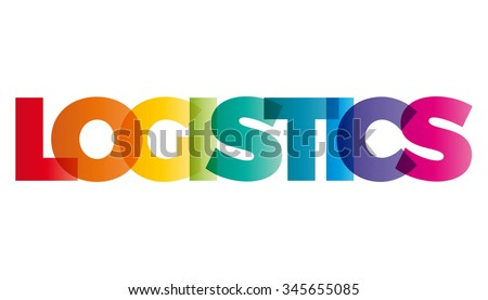 The word Logistics. Vector banner with the text colored rainbow.
