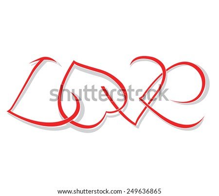 """The word """"love"""" of woven hearts. Vector illustration - stock vector"""