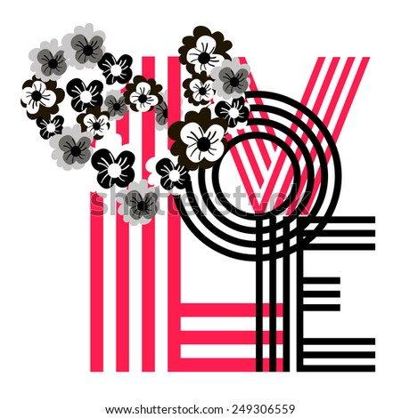"The word ""love"" with flower heart. Black and white floral heart with letters. - stock vector"