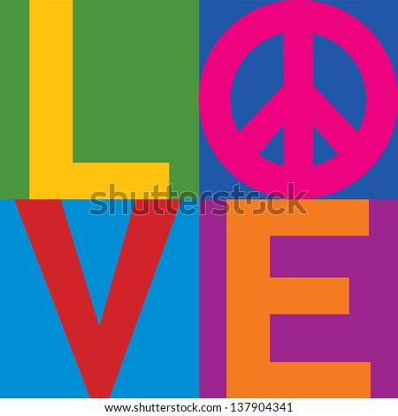The word Love with Pace Symbol in a stacked color-block design. Type style is my own creation. - stock vector