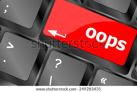 The word oops on a computer keyboard - stock vector