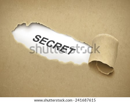 the word secret behind brown torn paper - stock vector