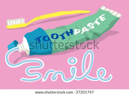 The word SMILE written in toothpaste from a tube and toothbrush - stock vector