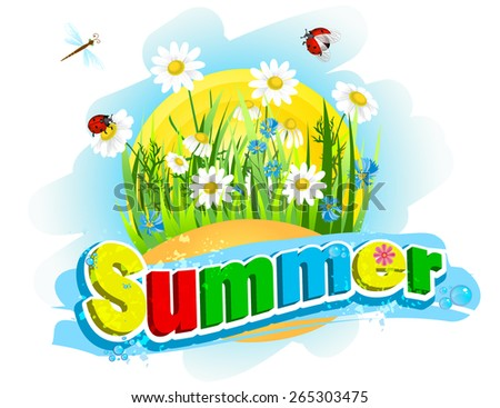 "The word ""summer"" in the background of flowers and grass - stock vector"