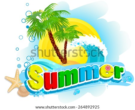 "The word ""summer"" on the background of palm and waves - stock vector"