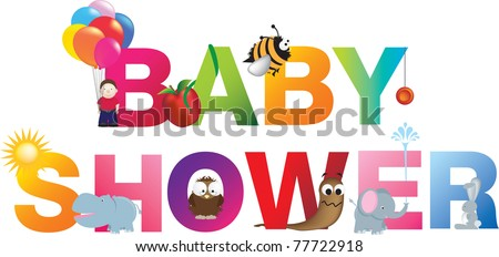 The words baby shower  made up from alphabet cartoon letters with matching animals and objects - stock vector