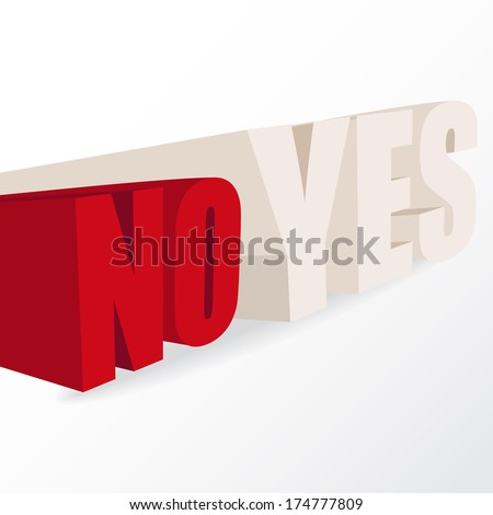 """the words """"yes"""" and """"no"""",  conceptual illustration for a decision, vector format - stock vector"""