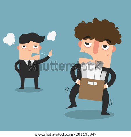 The worker was forced to lay off from his employer - stock vector