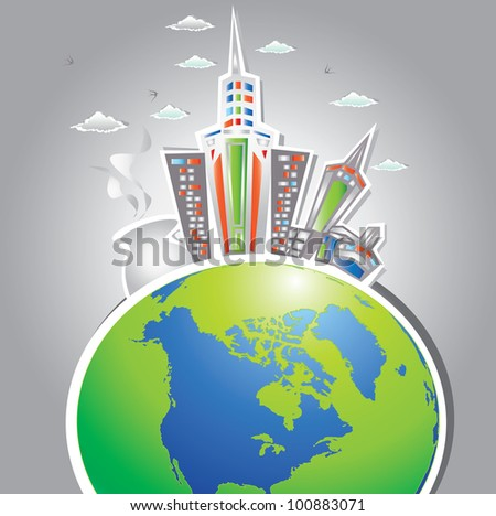 The world,city background,Vector - stock vector