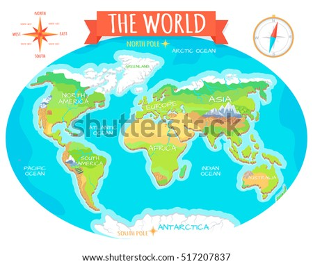 World Geographical Map Names Continents Oceans Stock Vector - Map showing continents and oceans