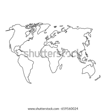 World map black contour curves vector stock vector 659560024 the world map of black contour curves of vector illustration gumiabroncs Images