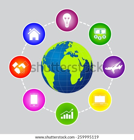 The world with business icons and social network. - stock vector