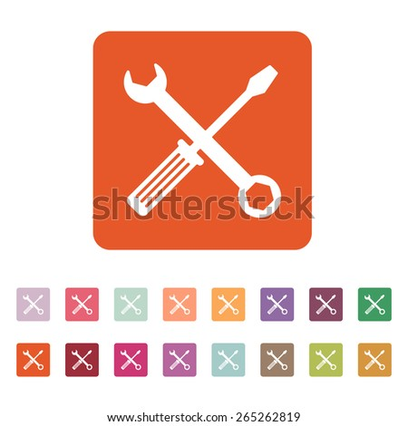 The wrench and screwdriver icon. Settings symbol. Flat Vector illustration. Button Set - stock vector