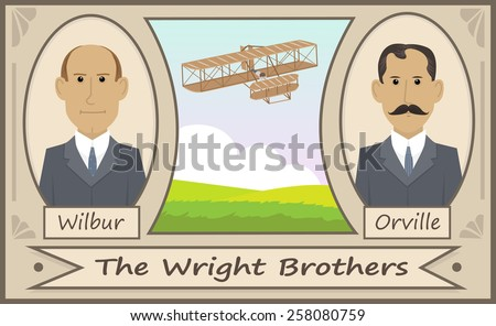 The Wright Brothers - Cartoon illustration of the Wright brothers and their glider. Eps10 - stock vector