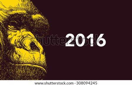 The year of monkey. Chinese new year 2016. Vector illustration. - stock vector