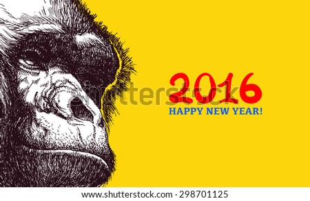 The year of the monkey. Chinese new year 2016. Monkey year. - stock vector