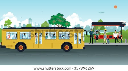 The yellow bus was parked up passengers at bus stops. - stock vector