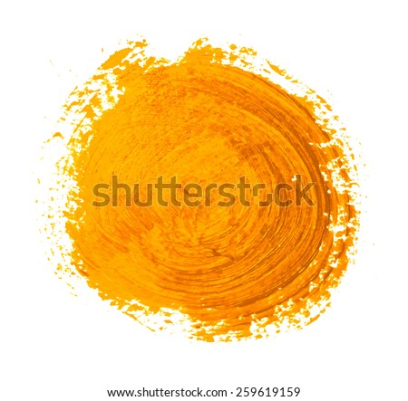 the yellow orange circle paint strokes vector