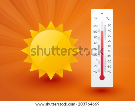The yellow sun with thermometer - stock vector