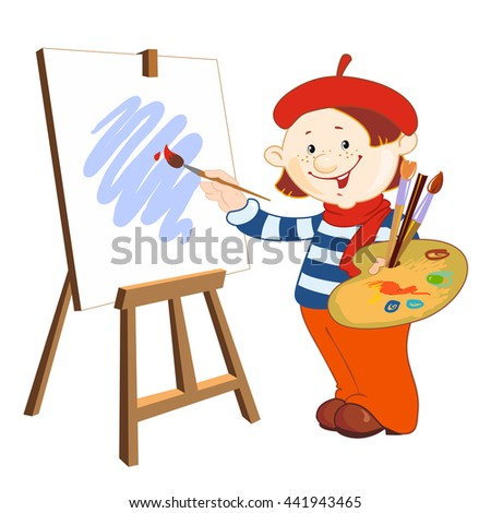 The young artist who paints with palette and brushes. Background for your text