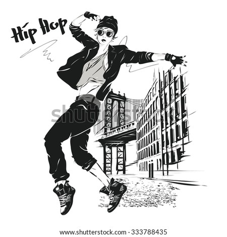 the young girl dances hip-hop. Vector illustration - stock vector