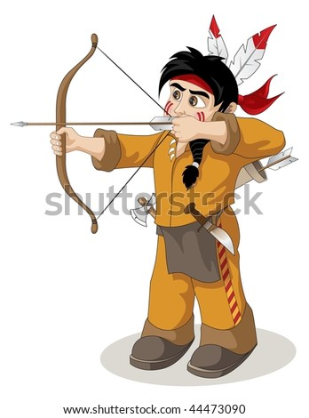 the young Indian chief fishery - stock vector